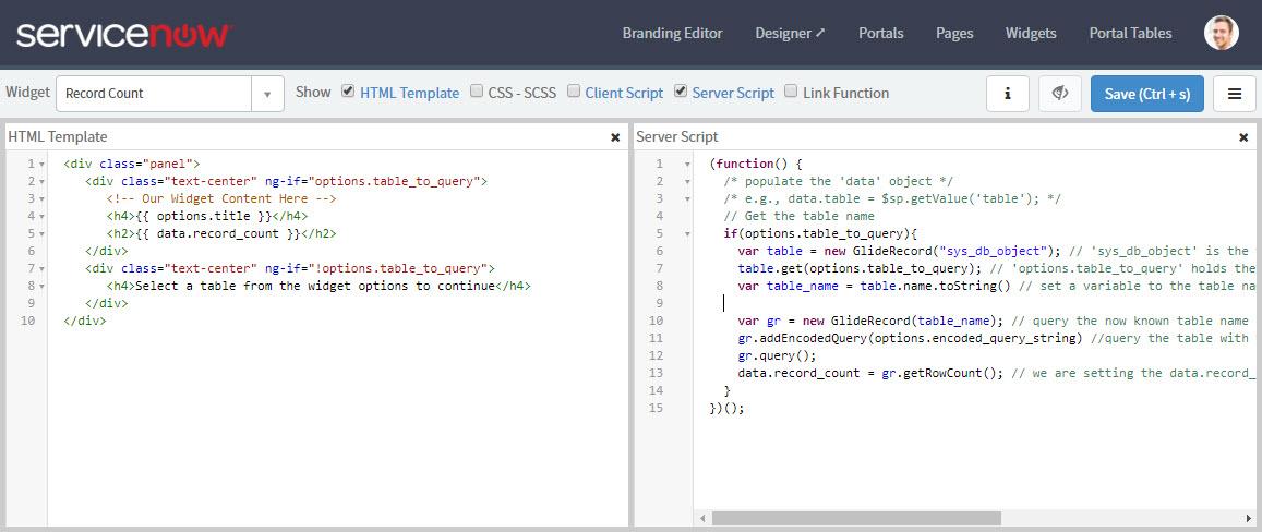 Creating a simple 'Record Count' Service Portal Widget